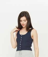 Ribbed Button Down Scoop Neck Tank
