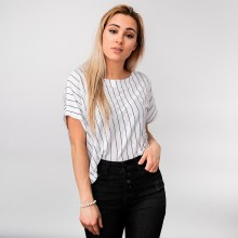 Short-sleeve Boat-neck Crop Top w/ Contrasting Stripes