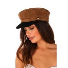 CAMEL/BLACK FAUX SUEDE FIDDLER CAP