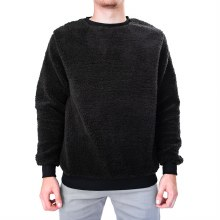 BLACK FUZZY SHERPA SWEATER S