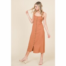 CAMEL LONG BUTTON-UP MIDI DRESS S