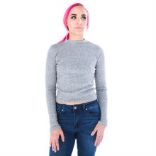 Long-sleeve Textured Hacci Rib-knit Crop Top