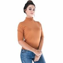 Short-sleeve Waist-length Mock-T Rib-knit Top