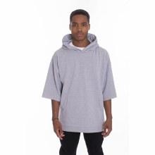 Grey 3/4 Cut-Off Sleeve Hoodie