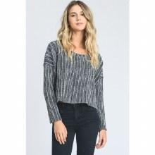 CHARCOAL STRIPED CROP TOP SWEATER S