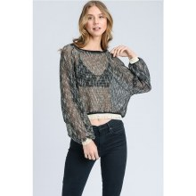 BLACK MESH SWEATER M