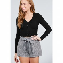 BLACK LONG SLEEVE V NECK BUTTON DOWN CROPPED CARDIGAN S