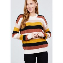 LONG DOLMAN SLEEVE ROUND NECK COLOR BLOCK SWEATER L