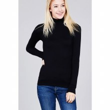 BLACK LONG SLEEVE TURTLE NECK JERSEY S
