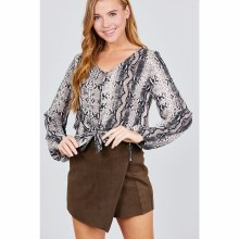 BLACK FRONT TIE LONG SLEEVE ANIMAL TOP L