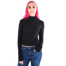 BLACK LONG SLEEVE SHIRRING TURTLE NECK RIB KNIT TOP S