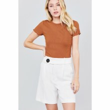 Cinnamon Short Sleeve Crew Neck Lettuce Hem Top