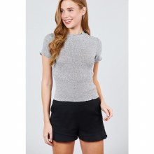 HEATHER GREY SHORT SLEEVE LETTUCE HEM RIB KNIT TOP M