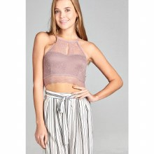 MAUVE OPEN BACK LACE CROP TOP S