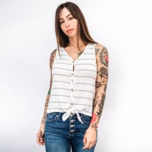 Button Down Front Tie Tank