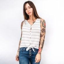 Button-down Front-tie Waffle-weave Tank Top