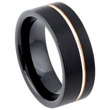 8mm Off Center Rose Gold Ring
