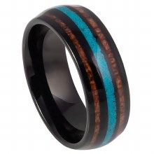 JD KOA & TURQS TUNGSTEN RING