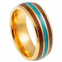 Rosewood&Turquoise Inlay Ring - 8mm