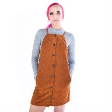 CAMEL CORDUROY APRON DRESS