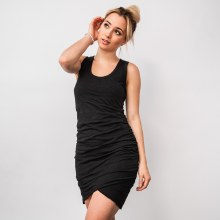 Side-ruched Tank-top Mini Dress w/ Envelope Hem