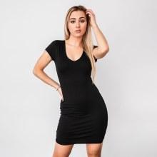 Short-sleeve Double-layered V-neck Bodycon Mini Dress