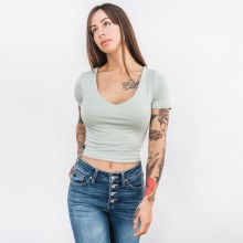 Wasabi V Neck S/s Top Sage Sma