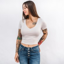 Double Layered Short Sleeve V-Neck Crop Top