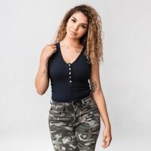 Wasabi V-Neck Rib-Knit Tank Top Bodysuit
