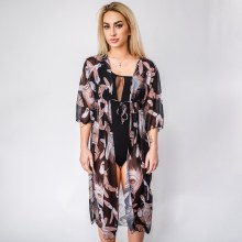 Feather Print Swim Cover Up