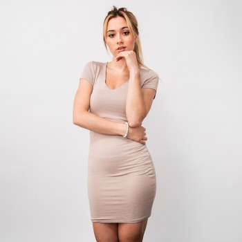 Short-sleeve Double-layered V-neck Bodycon Mini Dress