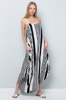 Vertical Stripe Maxi Dress