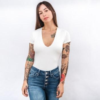 Wasabi Short Sleeve Scoop Neck Double Layer Bodysuit