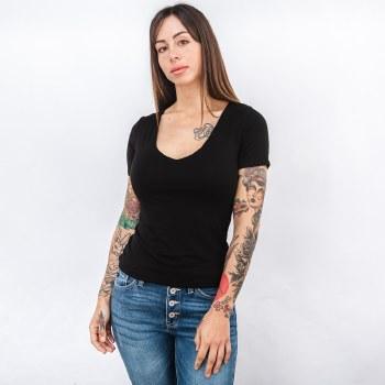 Double Layered Short Sleeve V-neck Tee