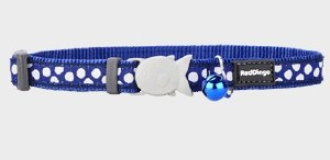 Red Dingo Dark Blue with White Polka Dots Cat Collar