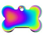 ID Tag Small Bone Rainbow Chrome *See Notes*