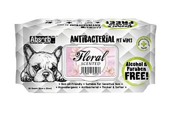 AbsorbPlus Antibacterial Floral Scented Wipes (80 Pack)