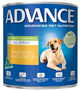 Advance Adult All Breed Weight Control Chicken and Rice 700g Wet Dog Food