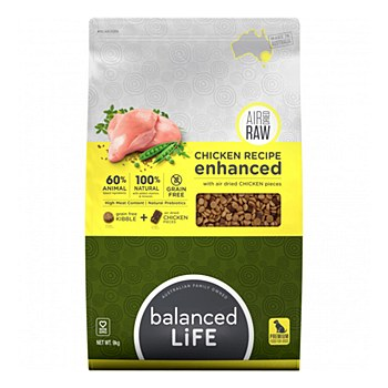 Balanced Life Chicken Recipe with Air Dried Chicken Pieces 9kg Dry Dog Food