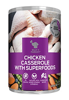 Billy + Margot Chicken Casserole With Superfoods 400g Wet Dog Food