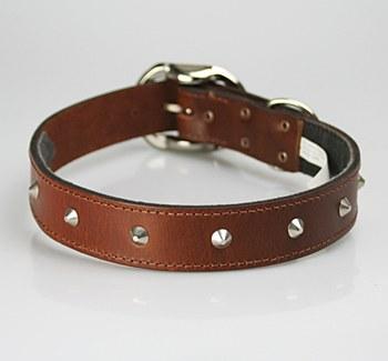Petlife Dog Collar Leather Studded Small 37.5cm Brown