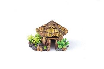 Kazoo Fish Tank Ornament Bali Hut with Plants Round Medium