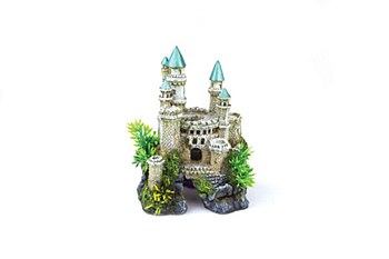 Kazoo Fish Tank Ornament Castle with Green Roof Small