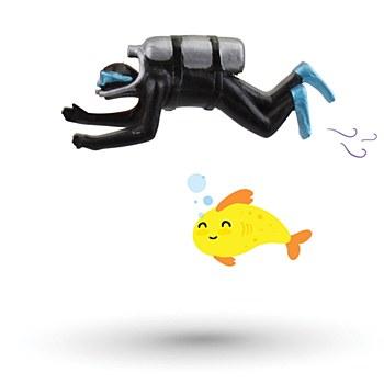Kazoo Fish Tank Ornament Floating Scuba Diver Medium