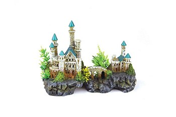Kazoo Fish Tank Ornament Mountain Castle with Plants Small