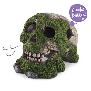 Kazoo Fish Tank Ornament Bubbling Skull with Moss Small