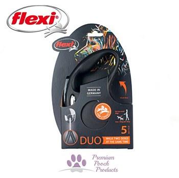 Flexi Classic Cord Duo Dog Lead Retractable Medium 5m Black