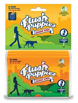 Flush Puppies Dog Waste Bags Flushable (60 Bags)