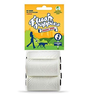 Flush Puppies Dog Waste Bags Flushable 4 Roll Refill (40 Bags)