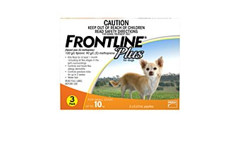 Frontline Plus for Small Dogs up to 10kg (3 Pack)
